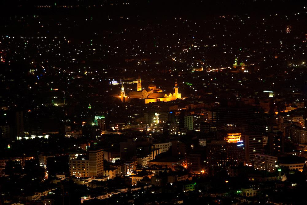 Umayyad Mosque at night, from Mount Qasioun, Damascus