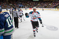 KELOWNA, CANADA - FEBRUARY 13: Devante Stephens #21 of the Kelowna Rockets celebrates a goal against the Seattle Thunderbirds on February 13, 2017 at Prospera Place in Kelowna, British Columbia, Canada.  (Photo by Marissa Baecker/Shoot the Breeze)  *** Local Caption ***