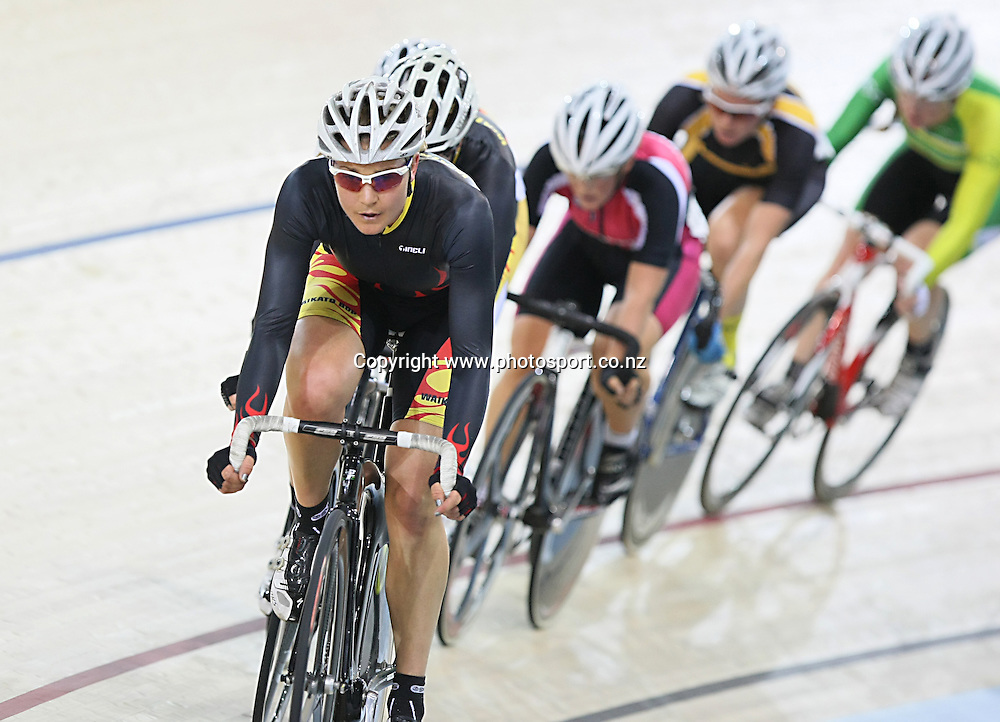 Waikato BOP's Jaime Nielsen competes in the WE 20k Points Race final at the BikeNZ Elite & U19 Track National Championships, Avantidrome, Home of Cycling, Cambridge, New Zealand, Friday, March 14, 2014.  Photo: Dianne Manson / photosport.co.nz