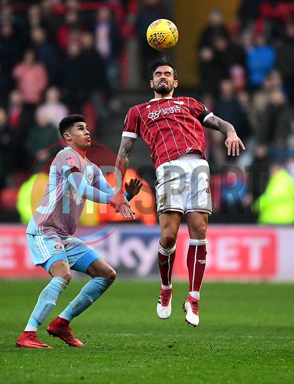 Marlon Pack of Bristol City heads the ball forward  - Mandatory by-line: Joe Meredith/JMP - 10/02/2018 - FOOTBALL - Ashton Gate Stadium - Bristol, England - Bristol City v Sunderland - Sky Bet Championship