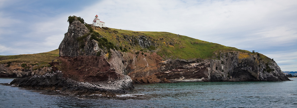 Lighthouse at Taiaroa Head, Otago Peninsula, Dunedin, New Zealand (12x33 inch print)<br />