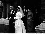 06/02/1964<br /> 02/06/1964<br /> 06 February 1964<br /> Wedding of Sean Manley and Eithne Lydon at University Church Dublin. pictures after the ceremony were Mr Sean Manley elder son of Mr and Mrs Tadhg Manley, St. Luke's Place, Cork and Miss Eithne Lydon (a Former actress with the Abbey Theatre and Taibhdheare na Gaillimhe) daughter of Mr and Mrs Thomas Lydon, Abnegate Street, Galway. The bridesmaids  were the Misses Aoife and Maeve Lydon, sisters of the bride and the groomsmen were Mr John Carty and Mr T.J. Mulcahy.  The couple leaving the church after the ceremony.