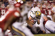 Vanderbilt Commodores fullback Steven Bright dives for a first down through the Arkansas Razorback defense during a 28 to 24 win over the Razorbacks on September 10, 2005 at Donald W. Reynolds Stadium in Fayetteville, Arkansas..Mandatory Credit: Wesley Hitt/Icon SMI