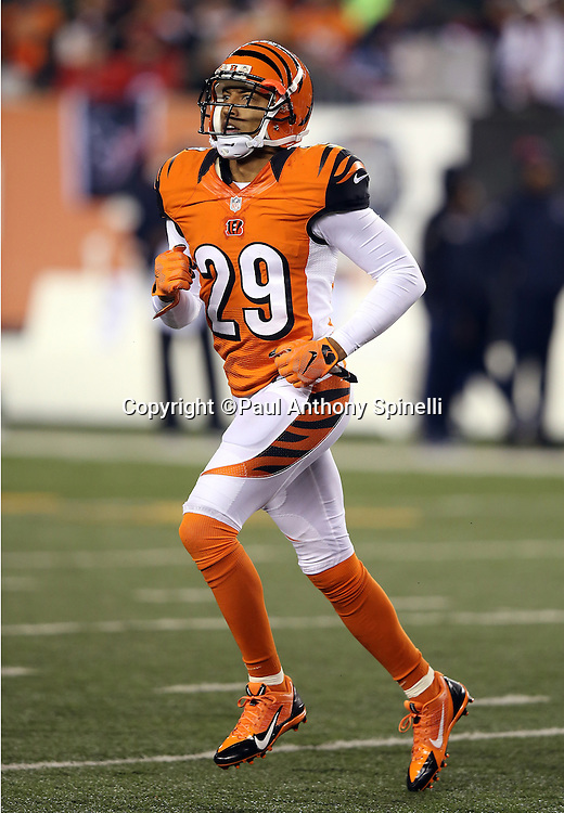 Cincinnati Bengals strong safety Leon Hall (29) runs cross field during the 2015 week 10 regular season NFL football game against the Houston Texans on Monday, Nov. 16, 2015 in Cincinnati. The Texans won the game 10-6. (©Paul Anthony Spinelli)