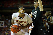 Rick Curry (24) of South Grand Prairie posts up against Dylan Shick (3) of Cibolo Steele during the UIL Conference 5A semifinals at the Frank Erwin Center in Austin on Friday, March 8, 2013. (Cooper Neill/The Dallas Morning News)