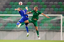 Klauss of HJK Helsinki and Aris Zafirovic of NK Olimpija Ljubljana during 1st Leg football match between NK Olimpija Ljubljana and HJK Helsinki in 3rd Qualifying Round of UEFA Europa League 2018/19, on August 9, 2018 in SRC Stozice, Ljubljana, Slovenia. Photo by Urban Urbanc / Sportida