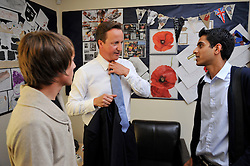 Leader of the Conservative Party David Cameron talks to Members of the Youth Parliament  backstage at  Brighouse High School , Halifax, after his  Cameron Direct, during   his  3 day tour of Yorkshire and the North West of England, Wednesday  August 19, 2009. Photo By Andrew Parsons / i-Images.