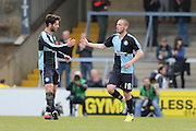 Wycombe Wanderers defender Michael Harriman (19) scores to make it 1-1 and congratulated by Wycombe Wanderers defender Joe Jacobson (3) during the Sky Bet League 2 match between Wycombe Wanderers and AFC Wimbledon at Adams Park, High Wycombe, England on 2 April 2016. Photo by Stuart Butcher.