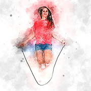 Digitally enhanced image of a female teen Skips Rope