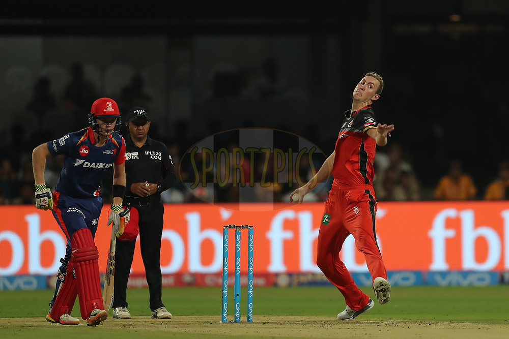 Billy Stanlake of the Royal Challengers Bangalore during match 5 of the Vivo 2017 Indian Premier League between the Royal Challengers Bangalore and the Delhi Daredevils held at the M.Chinnaswamy Stadium in Bangalore, India on the 8th April 2017<br /> <br /> Photo by Ron Gaunt - IPL - Sportzpics