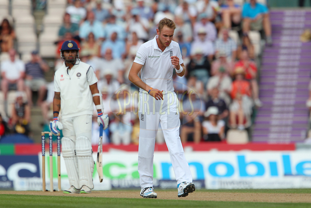 Stuart Broad of England walks back during day two of the third Investec Test Match between England and India held at The Ageas Bowl cricket ground in Southampton, England on the 28th July 2014<br /> <br /> Photo by Ron Gaunt / SPORTZPICS/ BCCI