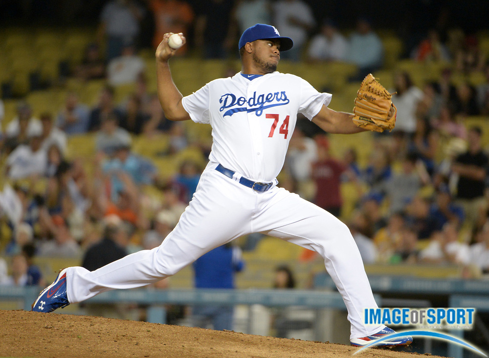 Aug 22, 2012; Los Angeles, CA, USA; Los Angeles Dodgers reliever Kenley Jansen (74) delivers a pitch against the San Francisco Giants at Dodger Stadium. The Giants defeated the Dodgers 8-4.