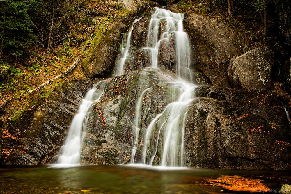 Cascades of Moss Glen Falls along VT 100.