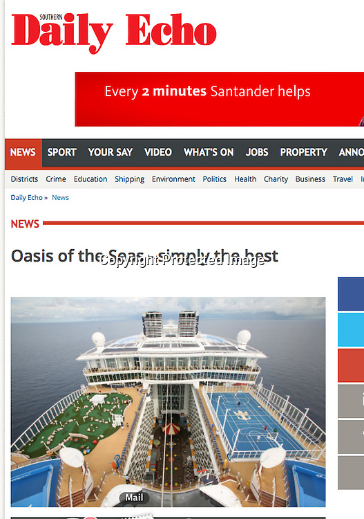 Royal Caribbean International's Oasis of the Seas Southampton visit cuttings.<br /> Daily Echo 161014 website.