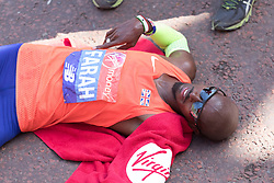 © Licensed to London News Pictures. 22/04/2018. London, UK. MO FARAH at the finish of the 2018 London Marathon. Photo credit: Vickie Flores/LNP