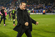 Forest Green Rovers manager, Mark Cooper at the end of the match during the EFL Sky Bet League 2 play off first leg match between Tranmere Rovers and Forest Green Rovers at Prenton Park, Birkenhead, England on 10 May 2019.
