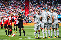 Tonny Vilhena of Feyenoord and Steven Berghuis of Feyenoord at a free kick during the Dutch Eredivisie match between Feyenoord Rotterdam and FC Twente at the Kuip on August 13, 2017 in Rotterdam, The Netherlands