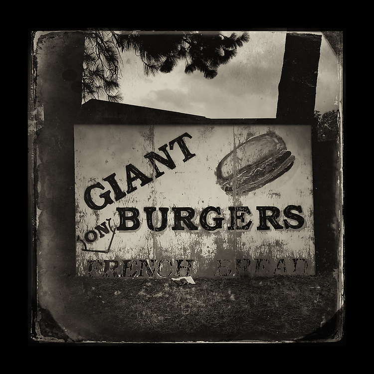 "Charles Blackburn image of hamburger sign in Cle Elum, WA. 5x5"" print."