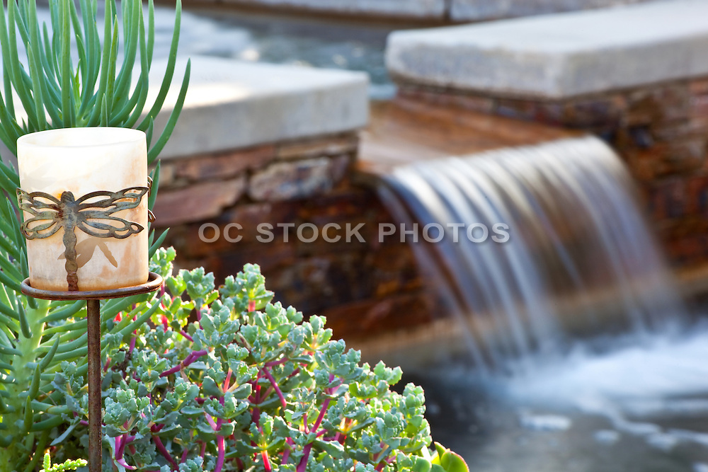 Waterfall Feature From Jacuzzi In Backyard Pool