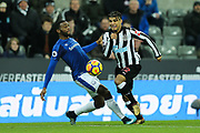 Cuco Martina (#15) of Everton fouls DeAndre Yedlin (#22) of Newcastle United on the edge of the penalty box during the Premier League match between Newcastle United and Everton at St. James's Park, Newcastle, England on 13 December 2017. Photo by Craig Doyle.
