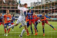1. divisjon fotball 2018: Aalesund - Tromsdalen. Aalesunds Sondre Brunstad Fet (nr 2 f.h.) foran mål i førstedivisjonskampen i fotball mellom Aalesund og Tromsdalen på Color Line Stadion.