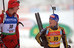 Julie Bonnevie-Svendsen (NOR) and Martina Beck (GER) at Women 15 km Individual at E.ON Ruhrgas IBU World Cup Biathlon in Hochfilzen (replacement Pokljuka), on December 18, 2008, in Hochfilzen, Austria. (Photo by Vid Ponikvar / Sportida)