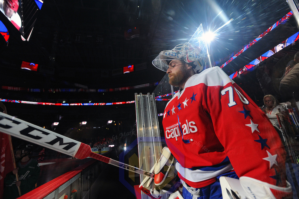 15 March 2016:  Washington Capitals goalie Braden Holtby (70) takes the ice at the Verizon Center in Washington, D.C. where the Washington Capitals defeated the Carolina Hurricanes, 2-1 in overtime to clinch a playoff spot. (Photograph by Mark Goldman/Icon Sportswire)
