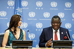 Babatunde Osotimehin (R), United Nations Population Fund (UNFPA) Executive Director, speaks at a press conference on the appointment of American actress Ashley Judd as UNFPA's new Goodwill Ambassador, at the UN headquarters in New York, March 15, 2016. EXPA Pictures © 2016, PhotoCredit: EXPA/ Photoshot/ Li Muzi<br /> <br /> *****ATTENTION - for AUT, SLO, CRO, SRB, BIH, MAZ, SUI only*****
