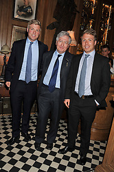 CHRISTOPHER MORAN and his sons left to right CHARLES MORAN and JAMIE MORAN at a party to celebrate the launch Mr Fogg's, 15 Bruton Lane, London W1 on 21st May 2013.