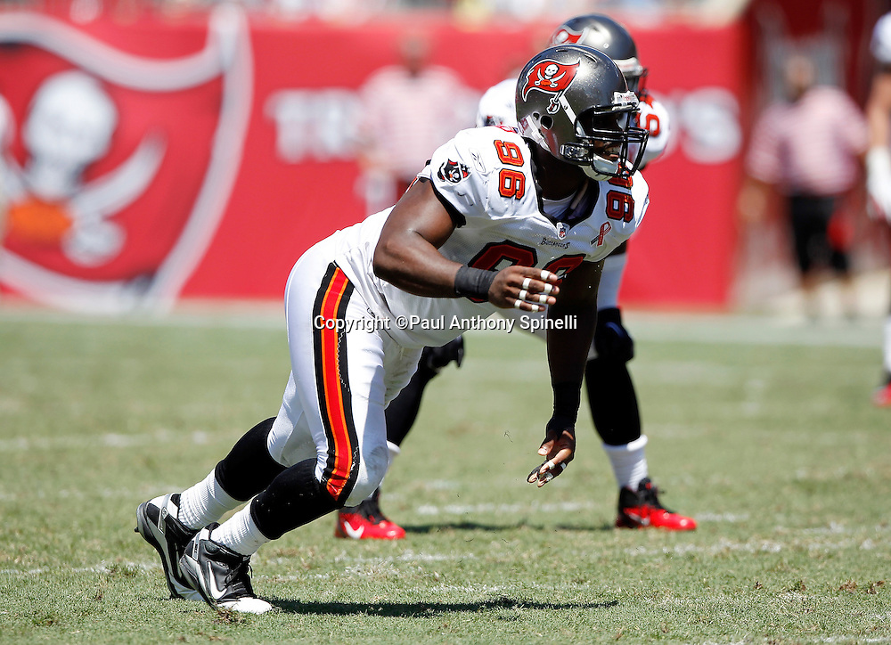 Tampa Bay Buccaneers defensive end Tim Crowder (96) makes a move at the snap during the NFL week 1 football game against the Detroit Lions on Sunday, September 11, 2011 in Tampa, Florida. The Lions won the game 27-20. ©Paul Anthony Spinelli