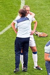 09.07.2011, FIFA Frauen-WM-Stadion Leverkusen, Leverkusen, GER, FIFA Women Worldcup 2011, Viertelfinale, England (ENG) vs. Frankreicht (FRA), im Bild:  Faye White (England) (R) entaeuscht / entäuscht / traurig.. // during the FIFA Women´s Worldcup 2011, Quaterfinal, England vs France on 2011/07/09, FIFA Frauen-WM-Stadion Leverkusen, Leverkusen, Germany.   EXPA Pictures © 2011, PhotoCredit: EXPA/ nph/  Mueller *** Local Caption ***       ****** out of GER / CRO  / BEL ******
