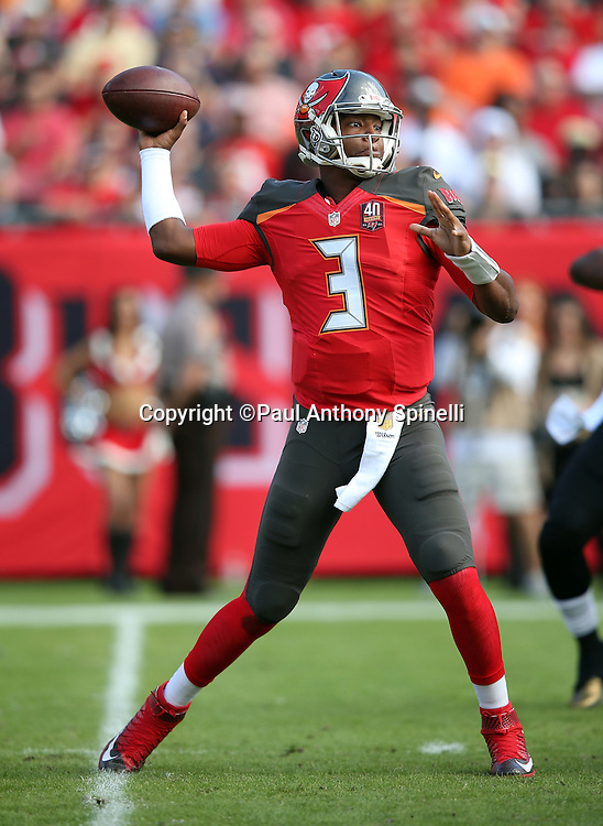 Tampa Bay Buccaneers quarterback Jameis Winston (3) throws a first quarter pass during the 2015 week 14 regular season NFL football game against the New Orleans Saints on Sunday, Dec. 13, 2015 in Tampa, Fla. The Saints won the game 24-17. (©Paul Anthony Spinelli)