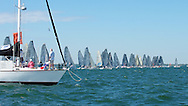 (SMALL FILE, 539KB) Forty-five boats on the line at the first of three events in the Audi Melges 20 Winter Series in Miami.  A similar series is held in Monaco for the boats that don't cross The Pond.