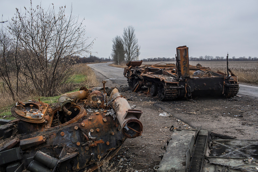 PERVOMAISKE, UKRAINE - NOVEMBER 18, 2014: The remnants of a tank which was destroyed in September, causing the deaths of four members of the Dnipro-1 brigade, a pro-Ukraine militia, remains on the road in Pervomaiske, Ukraine. CREDIT: Brendan Hoffman for The New York Times