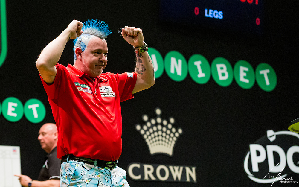 MELBOURNE, Australia - Sunday 20 August 2017: Peter Wright during the semi finals of the Unibet Melbourne Dart Masters at Hisense Arena on Sunday 20 August 2017.<br /> <br /> Photo Credit: Tim Murdoch/Tim Murdoch Photography