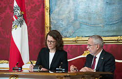 "03.06.2019, Präsidentschaftskanzlei, Wien, AUT, Angelobung der Übergangsregierung, im Bild Bildungsministerin Iris Rauskala und Bundespräsident Alexander Van der Bellen // Austrian Education Minister Iris Rauskala and federal president of Austria Alexander Van der Bellen during inauguration of the provisional government after ""Ibiza Affair"" at Federal Presidents Office in Vienna, Austria on 2019/06/19, EXPA Pictures © 2019, PhotoCredit: EXPA/ Michael Gruber"