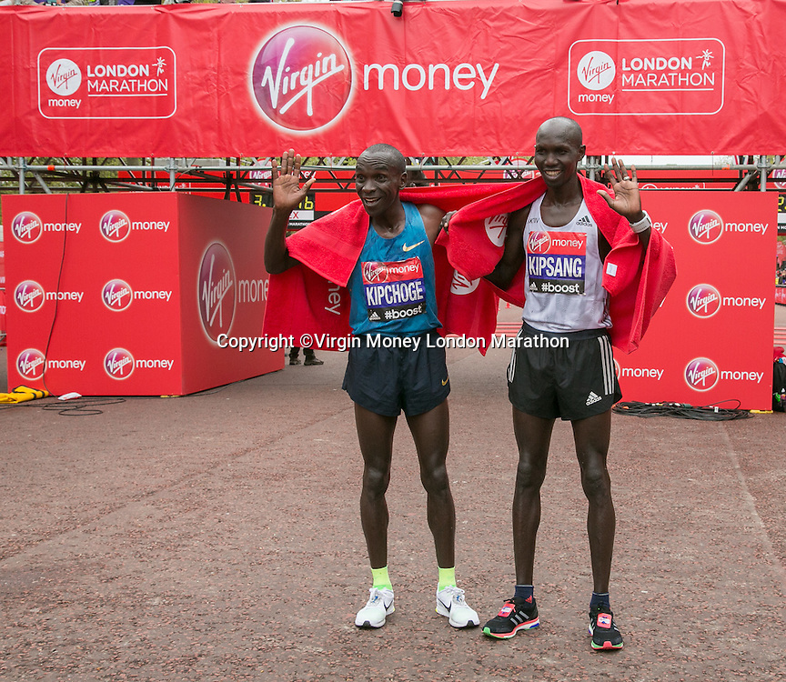 Wilson Kipsang (3rd) and Eliud Kipchoge (1st)  of Kenya at the end of the Elite Mens race of the Virgin Money London Marathon 2015, Sunday 26th April 2015<br /> <br /> Roger Allen for Virgin Money London Marathon<br /> <br /> For more information please contact Penny Dain at pennyd@london-marathon.co.uk