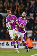 Hull City Midfielder, Sam Clucas (11) and Hull City Midfielder, David Meyler (7) get in each others way during the Premier League match between Bournemouth and Hull City at the Vitality Stadium, Bournemouth, England on 15 October 2016. Photo by Adam Rivers.