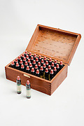 A box of bottles of Bach flower remedies