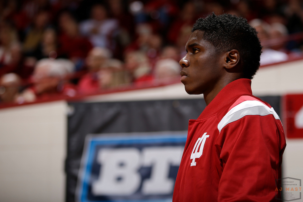 Indiana forward Hanner Mosquera-Perea (12) as Penn State played Indiana in an NCCA college basketball game in Bloomington, Ind., Tuesday, Jan. 13, 2015. (AJ Mast)