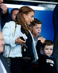 Coleen Rooney, wife of Wayne Rooney watches from the stands with children Kai and Klay - Mandatory by-line: Matt McNulty/JMP - 12/08/2017 - FOOTBALL - Goodison Park - Liverpool, England - Everton v Stoke City - Premier League