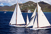 Mariella and Tuiga sailing in the Antigua Classic Yacht Regatta, Butterfly Race.