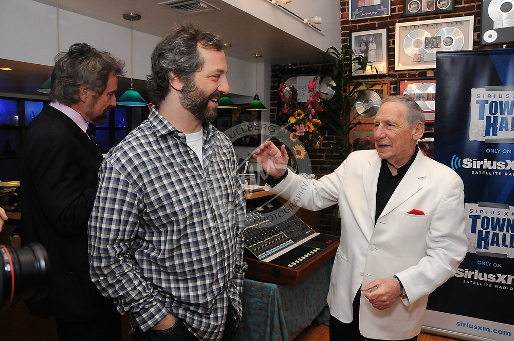 Director Judd Apatow and comedian Mel Brooks enjoy a funny moment