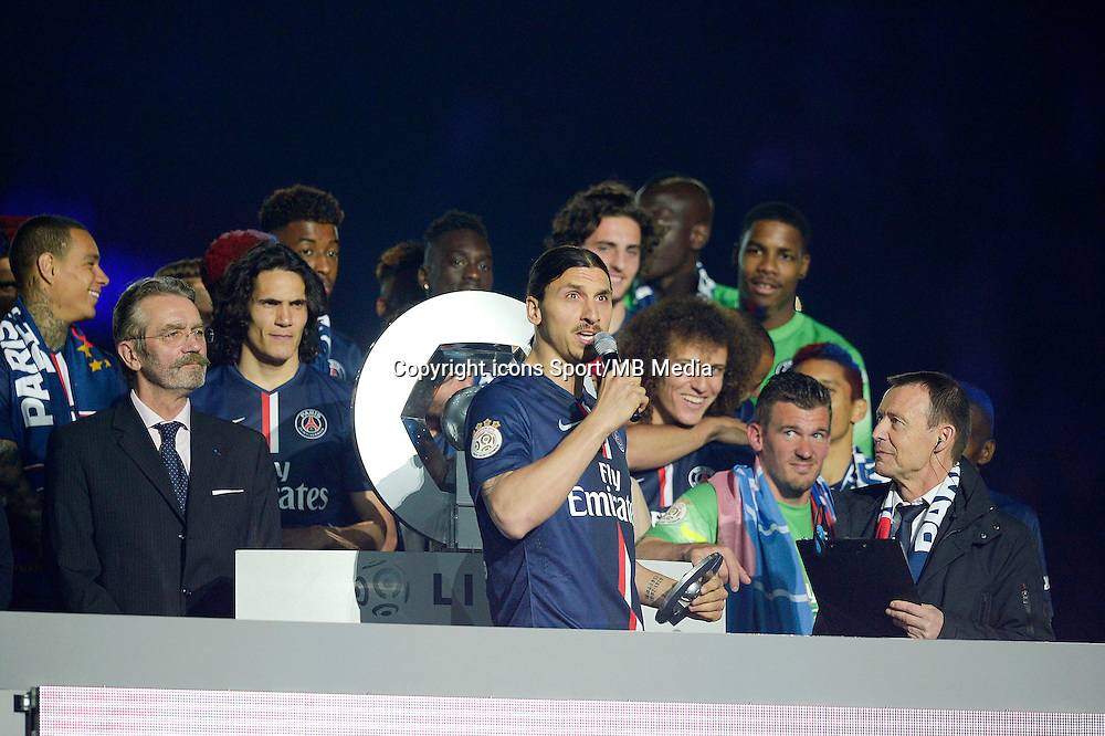 joie PSG / Zlatan Ibrahimovic - PSG Champion - 23.05.2015 - PSG / Reims - 38eme journee de Ligue 1<br /> Photo : Andre Ferreira / Icon Sport