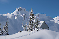 Heather Meadows visitors center in winter, Table Mountain is in the background. Heather Meadows Reacreation Area, North Cascades Washington