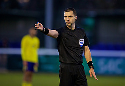 BANGOR, WALES - Saturday, November 17, 2018: Referee Dumitri Muntean during the UEFA Under-19 Championship 2019 Qualifying Group 4 match between Sweden and Wales at the Nantporth Stadium. (Pic by Paul Greenwood/Propaganda)