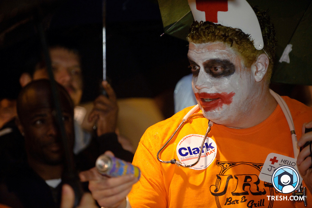 A volunteer from the 23rd annual High Heel Race held at 17th & Q Streets, NW, in Washington, D.C., Tuesday, October 27, 2009.