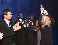 The Football Extravaganza celebrating 20 years of the Premier League, in aid of Nordoff Robbins. Louise Speed accepts Gary Speeds award as a member of the Premier League 500 Club. From Left. Frank Lampard,  Emile Heskey and Louise Speed. Played more than 500 Premier League games which has only six members..Wednesday, April.11, 2012 (Photo/John Marshall JME)