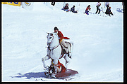 David Kirke and Cosmo Hulton, Dangerous Sports Club ski race. St. Moritz. 1984.<br />