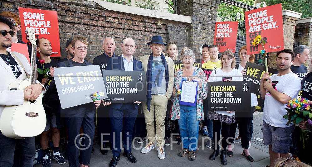 Amnesty International UK<br /> CHECHNYA: STOP ABDUCTING AND KILLING GAY MEN<br /> protest at the Russian Embassy, London, Great Britain <br /> 2nd June 2017 <br /> <br /> Over a hundred men suspected of being gay have been abducted, tortured and some even killed in the southern Russian republic of Chechnya.<br /> <br /> The Chechen government won't admit that gay men even exist in Chechnya, let alone that they ordered what the police call 'preventive mopping up' of people they deem undesirable. We urgently need your help to call out the Chechen government on the persecution of people who are, as they put it, of 'non-traditional orientation', and urge immediate action to ensure their safety.<br /> <br /> Photograph by Elliott Franks <br /> Image licensed to Elliott Franks Photography Services